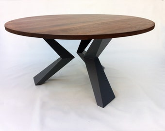 "Contemporary Modern Round Dining Table Solid Walnut with Bird Legs 54"" Seats 6-7 Solid Walnut on Graphite Steel Legs"