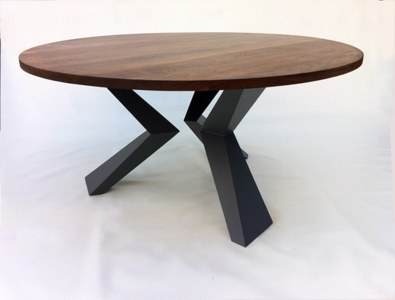 Contemporary Modern Round Dining Table Solid Walnut with Bird Legs 54 ...