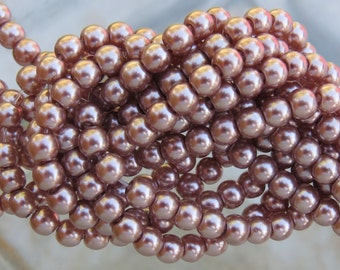 4mm Mocha Glass Pearl Beads 16 Inch Strand (BS529)