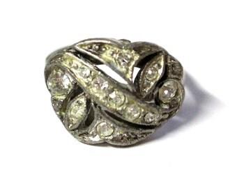 Paste & Pot Metal Ring, RARE 1920s Paste Ring, White Metal, Glass Rhinestone Ring, Art Deco Costume Ring, 1920s Sparkling Glass Ring S6.5