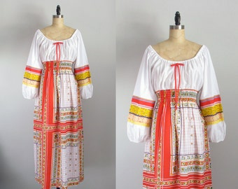 70s bohemian peasant red yellow gypsy print festival summer vintage maxi dress medium