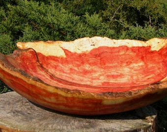 The Twice Broken Natural Edge Red Box Elder Bowl with Quilted Grain