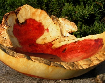 The trapped bubbles heart shaped red box elder bowl