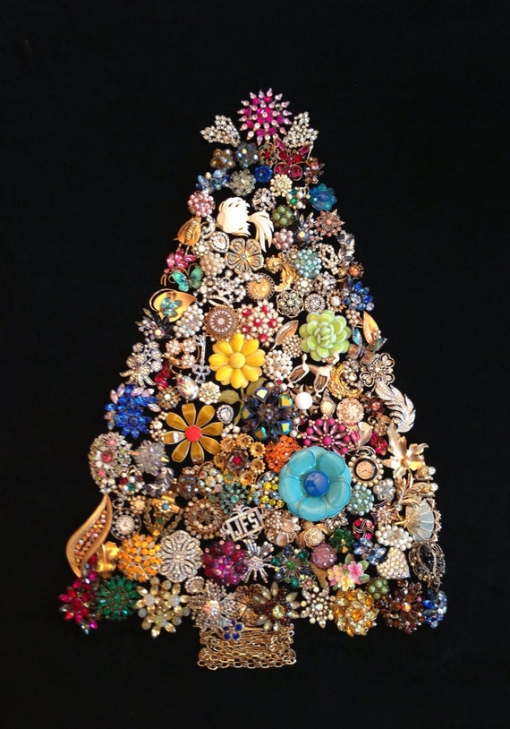 Items similar to vintage jewelry christmas tree on etsy for Christmas tree items list
