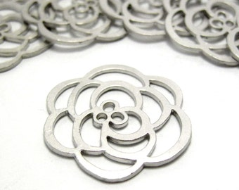 Silver Filigree Flower Connectors, Pendants or Charms in Matte - 6 pcs