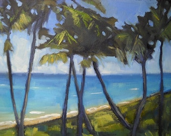 "Tropical Landscape Painting,  Palm Tree Painting, ""Room with a View"" by Carol Schiff, 8x10"" Oil"