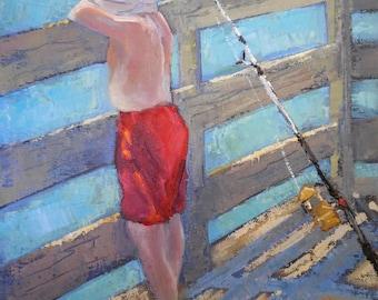 "Figurative Painting, Small Boy Fisherman, Daily Painting, ""Taking a Break"" by Carol Schiff, 8x10x.75"" Original"