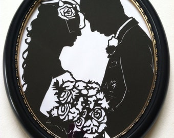 First Anniversary Gift in Black Oval Wood Frame with Gold Accents