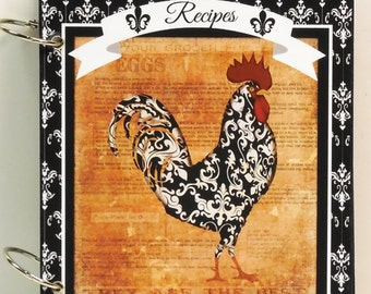 French Country Rooster Damask Blank Custom Recipe Book Personalized FREE