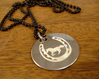 Horseshoe and horse- engraved Necklace-pendant for luck-Stainless steel disc