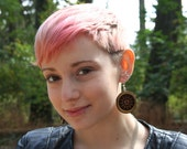 Wood Earrings- Peace Signs- Yellow- In Oregon Cascara Wood- Larger (MOD 4)
