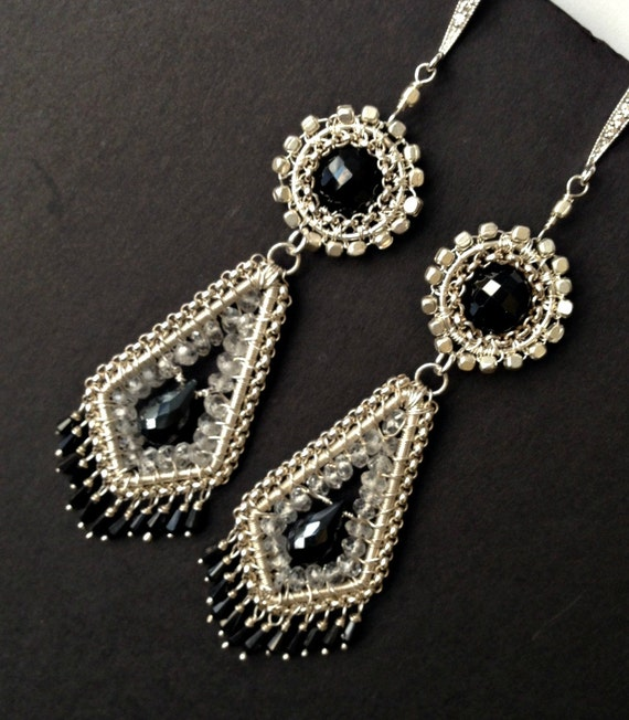 Long Chandelier Earrings Wire Wrapped Sterling Silver Black Spinel White Topaz Coiled Wire