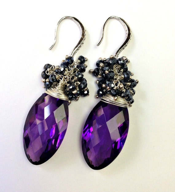 Amethyst Earrings, Wire Wrap Cluster Earrings, Sterling Silver, February Birthstone, Purple Earrings