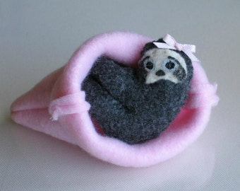 Sloth plush stuffed animal in pink snuggle bag with bendable legs and hand painted face -rain forest animal