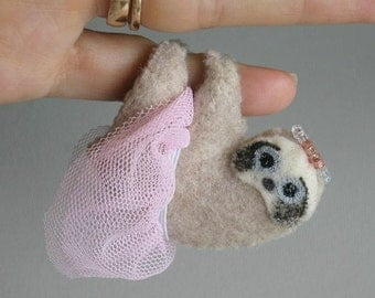 Sloth Princess miniature felt plush stuffed animal with bendable legs and hand painted face -rain forest animal