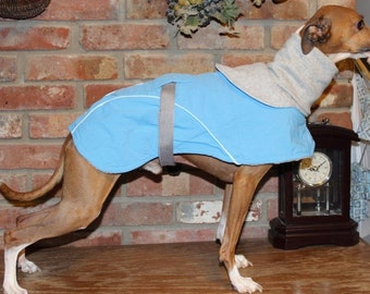 """Carolina Blue Dog Coat  Size 15"""" (00003)  Italian Greyhound, Chinese Crested, Min Pin, Bedlington Terrier, Small Dog IG Coat,"""