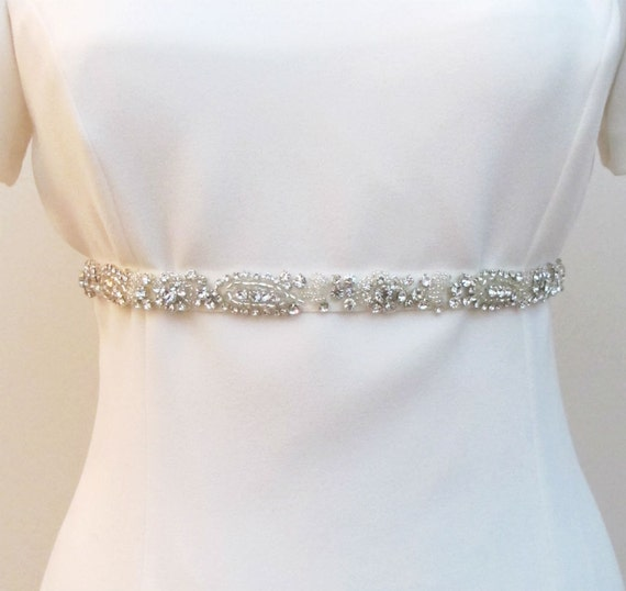 Private Listing Bridal Thin Trim Crystal Rhinestones Beaded  Belts  Wedding Sash Belt Ready to Ship