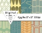 Retro Mid Century Modern Paper Pack - 8 Printable Digital Scrapbooking Papers - 12 x 12 - 300 DPI - INSTANT DOWNLOAD