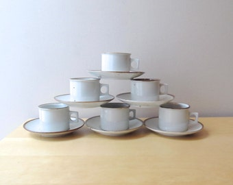 dansk brown mist flat cup and saucer set danish design