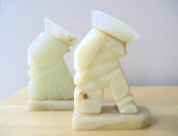 onyx bookends siesta mexican sombrero white stone book ends