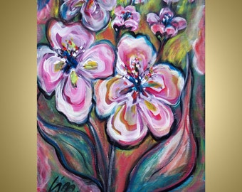 SALE Original Modern Abstract  Whimsical Orchid Flowers Painting PINK Flowers by Luiza Vizoli 20x16