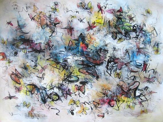 Farfalla originale, pittura astratta pittura farfalla arte libellula