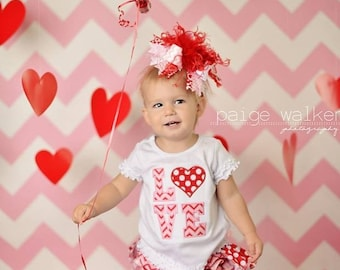 Red and Light Pink Chevron Polkadot Over The Top  Bow Free Shipping On All Addional Items