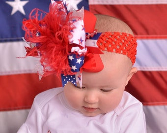 Lil Firecracker Over The Top  Bow on Matching Headband Free Shipping On All Addional Items