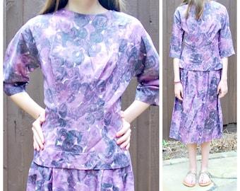 1950's Purple Swirl Dress by Tea Time Fashions California - Needs TLC