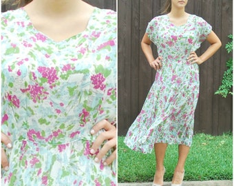 1940's Sheer Midi Dress In Lovely Floral Print- Free Shipping in USA -  Size 8 or 6 Medium