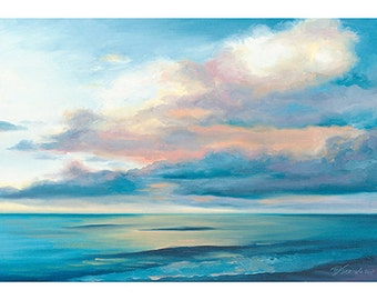 5x7 Greeting Card by Daina Scarola, Item #GC5X7-10 (beach, summer, sunrise, clouds, ocean, seascape)