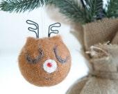 Deer Christmas Ornament, Reindeer, Needle Felted, Woodland Animal, Stag, Snow, Brown, Roudolph The Red Nosed Reindeer, Cute, Antler