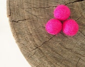Felt Wool Beads, Felted Balls, Neon Pink Needle Felting DIY Craft Crafting Woodland Raspberry Fuchsia