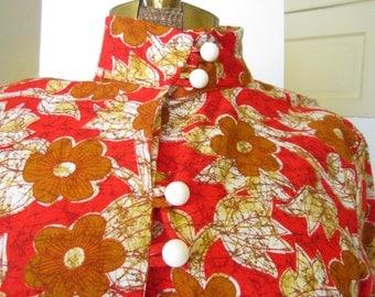 70s Vintage 1970s Dress with Nehru Collar Orange Flowers Size 6