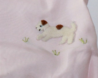 Vintage Baby Jacket Pink Satin with Mohair Embroidered Puppies Baby Kimono Layette Coat