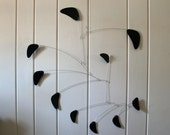 Black Mobile Hanging Sculpture - Abstract Style in Modern Black - Kinetic Calder Inspired 27w x 32t - P159