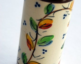 Vintage Spanish Pottery Vase by Enma with flowers on vine