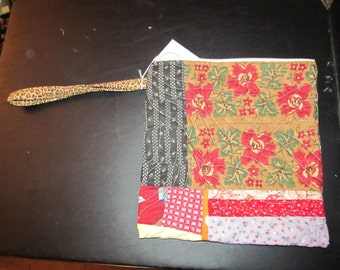 XL Wristlet,  Zipper Bag:  red and purple Travel bag, Floral ready to ship, Pouch, Quilted Case for carring all your supplies