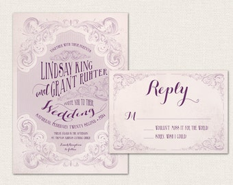 Vintage Scroll Printable Wedding Invitation Suite