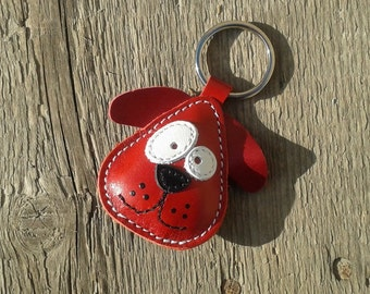Leather Keychain Chowder The Red Dog - FREE Shipping Worldwide - Handmade Leather Bag Charm