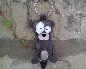 Cute Little Gray Otter Leather Animal Keychain - FREE Shipping Wordlwide - Handmade Leather Otter Bag Charm