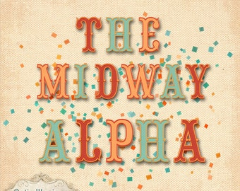 The Midway Alpha - 4 Sets of Alpha - UPPER CASE -  Digital Scrapbooking Kit -3.00
