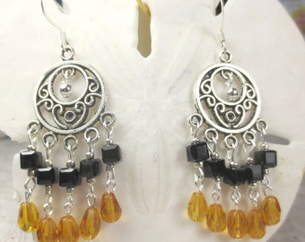Chandelier earrings with amber crystal tear drops and black cubes, dangle amber earrings, chandelier earrings, holiday earrings black amber