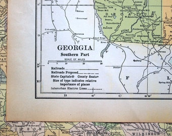 1919 Antique Map of Georgia - Southern Part - Large map - Georgia Antique Map - Antique Georgia Map