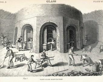 1879 Antique Engraving on Glassmaking