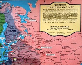 1941 Poster-sized Vintage Strategic War Map, World War II