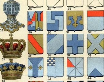 1907 Antique Brilliantly Coloured Italian Chromolithograph of Heraldry