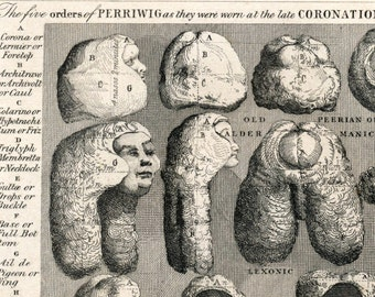 Antique Print on Wigs - 1860s Engraving on the Five Orders of Perriwigs, by William Hogarth