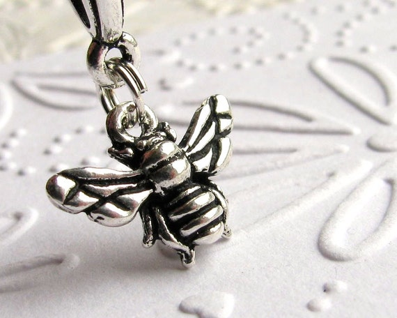 Honey Bee necklace on sterling chain, Tierra Cast antiqued silver pewter charm, garden insect bug apiary