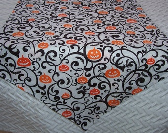 "Halloween Table Runner, Spooky Scrolls,  36"" Runner, Small Table Runner, Fall Table Runner, Tabletop Runner, Autumn Runner, Black and White"